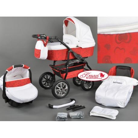 Wózek dziecięcy Bavario (biały + czerwony)