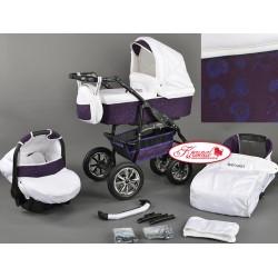 Wózek dziecięcy Krasnal BAVARIO biały + fioletowe serca