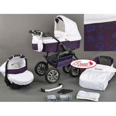 Wózek dziecięcy Bavario (biały + fioletowy)