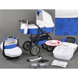 Wózek dziecięcy Kraasnal Bavario biały + niebieskie serca