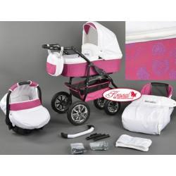 Wózek dziecięcy Krasnal BAVARIO biały + różowe serca