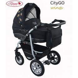 Wózek dziecięcy Krasnal CityGO wings czarny + złote skrzydła