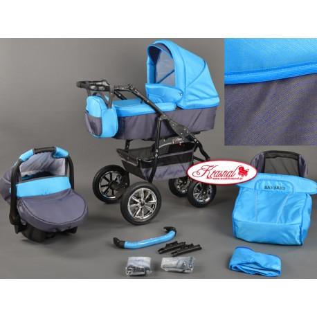 Wózek dziecięcy Bavario (niebieski + grafit)