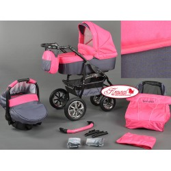 Wózek dziecięcy Krasnal BAVARIO (różowy + grafit)