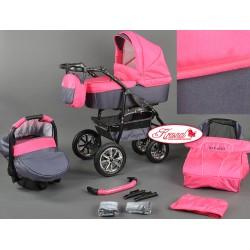 Wózek dziecięcy Bavario (różowy + grafit)