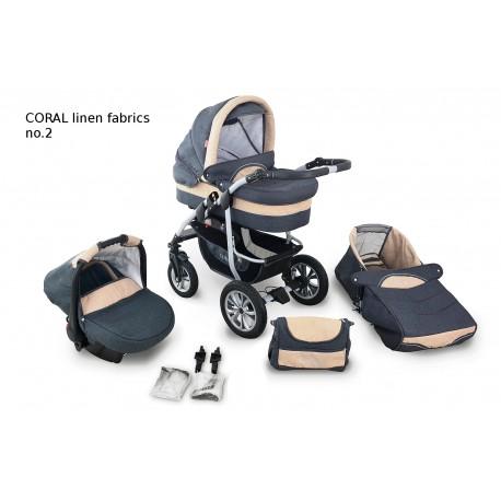 Wózek dziecięcy Krasnal Coral (szary LEN + beż LEN)