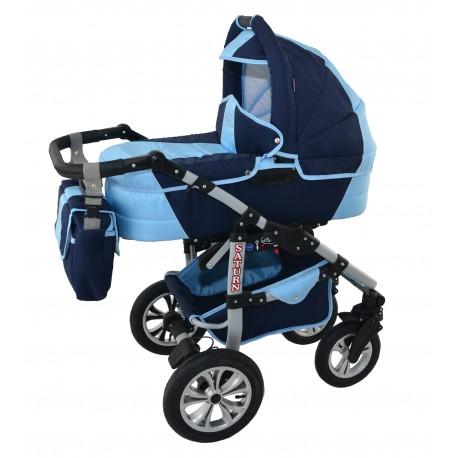 Wózek dziecięcy Krasnal SATURN (granat + jasny niebieski)
