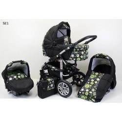 Wózek dziecięcy Krasnal SATURN [czarny+zielone kółka]