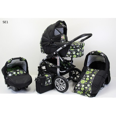 Wózek dziecięcy Krasnal SATURN czarny + zielone kółka