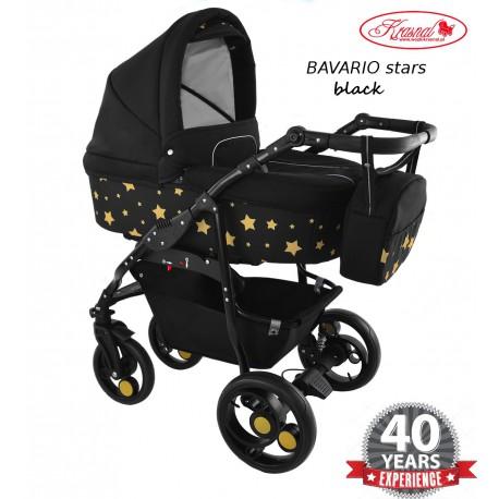 Wózek dziecięcy Krasnal BAVARIO stars [ czarny]