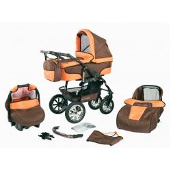 """Wózek dziecięcy Krasnal BAVARIO """" + """" (brąz + pomarańczowy)"""