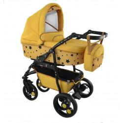 Wózek dziecięcy Krasnal BAVARIO stars złoty