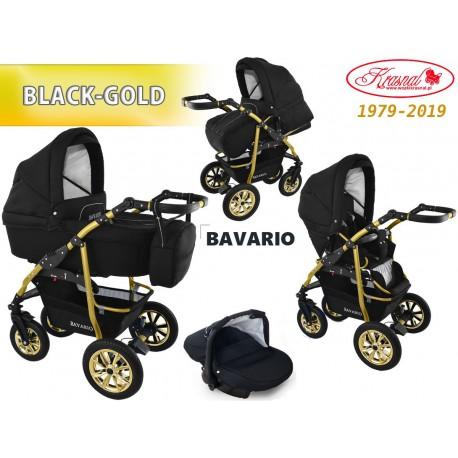 Wózek dziecięcy Krasnal Bavario [czarny na złotym stelażu]