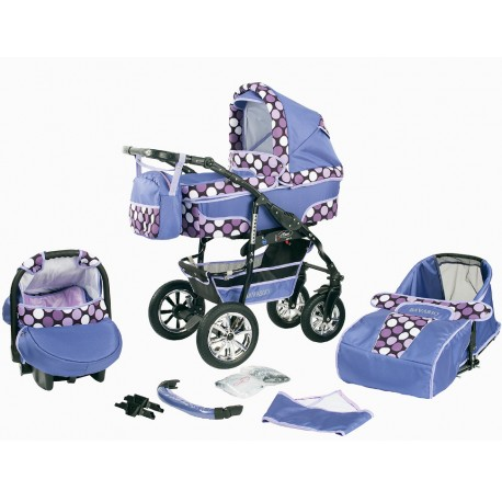 Wózek dziecięcy Krasnal BAVARIO (fiolet+kropki)