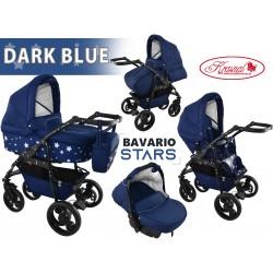 Wózek dziecięcy Krasnal BAVARIO stars [ granatowy ]