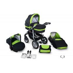 Wózek dziecięcy Krasnal Coral (czarny + zielony)