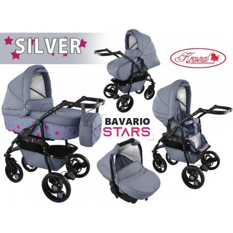Wózek wielofunkcyjny Krasnal BAVARIO stars szary 3w1