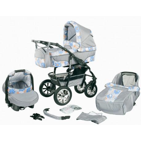 """Wózek dziecięcy Bavario """" + """" (szary+ptaszki)"""