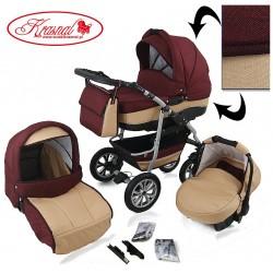Wózek dziecięcy Krasnal CityGO bordo + złoty LEN