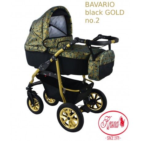 Wózek dziecięcy Krasnal BAVARIO złoty wzór na złotym stelażu GOLD