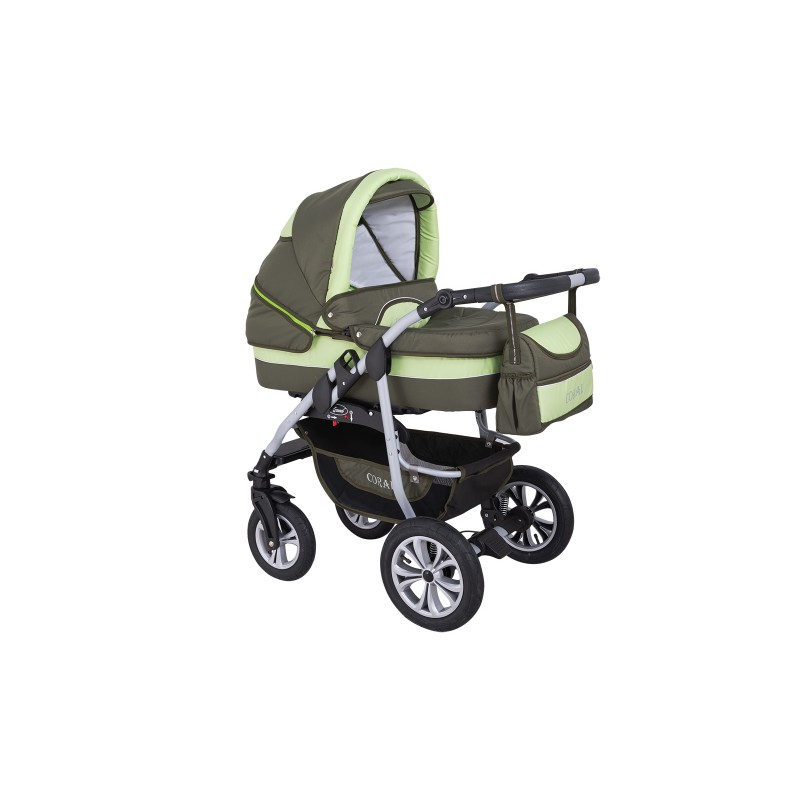 Wózek dziecięcy Krasnal CORAL (oliwka + pistacja)  cyk6h