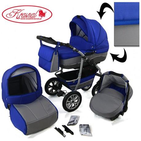 Wózek dziecięcy Krasnal CityGO ( chaber + jasny szary ) LEN