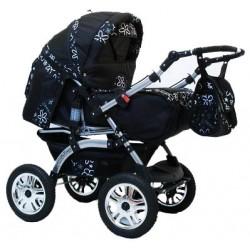 Wózek dziecięcy Krasnal Szymek LUX F3 (czarny + czarne kwiaty)