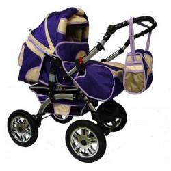 Wózek dziecięcy Krasnal Szymek LUX  [ fiolet + beż ]