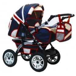Wózek dziecięcy Krasnal Szymek LUX  [ granat + beż + czerwona lamówka ]