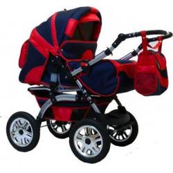 Wózek dziecięcy Krasnal Szymek LUX  [ granat + czerwony ]