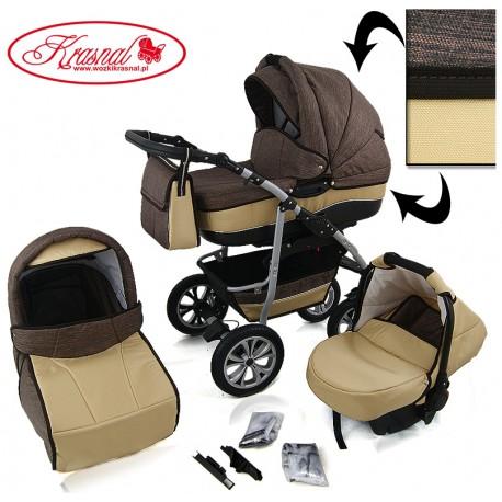 Wózek dziecięcy Krasnal CityGO ( jasny brąz + złoty ) LEN C