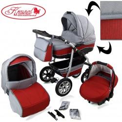 Wózek dziecięcy Krasnal CityGO ( jasny szary + czerwony ) LEN