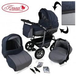 Wózek dziecięcy Krasnal CityGO niebiesko szary jeans + szary LEN