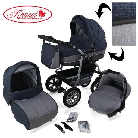 Wózek dziecięcy Krasnal CityGO ( niebiesko/szary + szary ) LEN