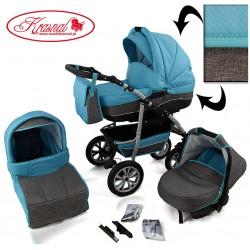 Wózek dziecięcy Krasnal CityGO niebiesko/zielony miętowy + szary LEN