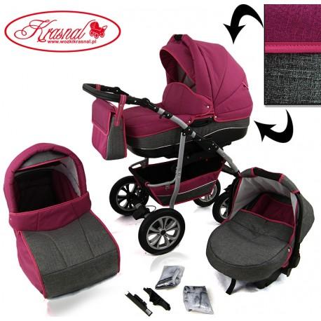 Wózek dziecięcy Krasnal CityGO ( róż + szary ) LEN