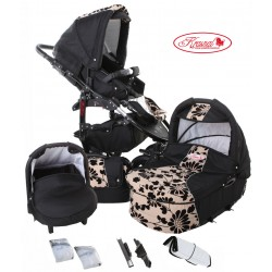 Wózek dziecięcy Krasnal FIORINO (czarny + beżowy) LEN