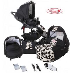 Wózek dziecięcy Fiorino (czarny + biały) LEN