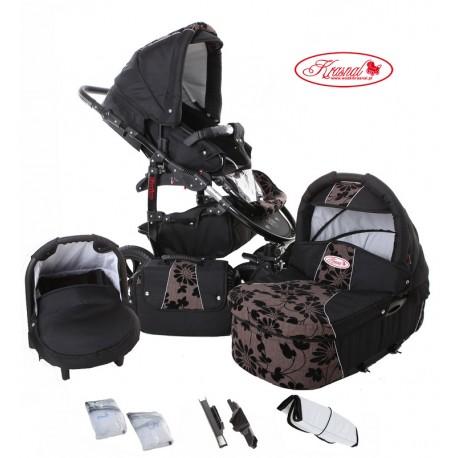 Wózek dziecięcy Krasnal Fiorino (czarny + brąz) LEN