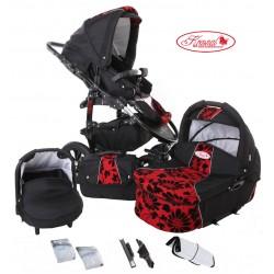 Wózek dziecięcy Krasnal FIORINO (czarny + czerwony) LEN
