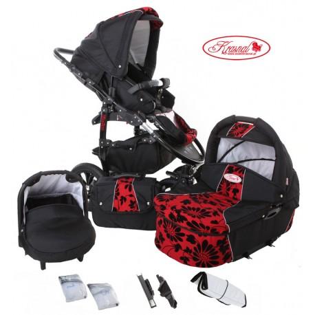 Wózek dziecięcy Fiorino (czarny + czerwony) LEN