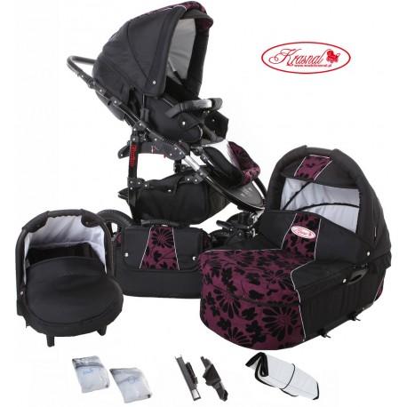 Wózek dziecięcy Krasnal Fiorino (czarny + fiolet) LEN