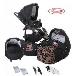 Wózek dziecięcy Krasnal FIORINO (czarny + jasny brąz) LEN