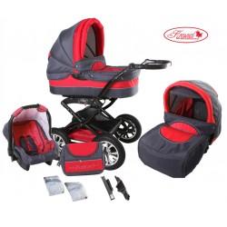 Wózek dziecięcy Polaris (grafit + czerwony)