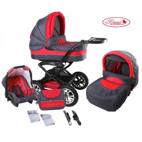 Wózek dziecięcy Krasnal Polaris (grafit + czerwony)