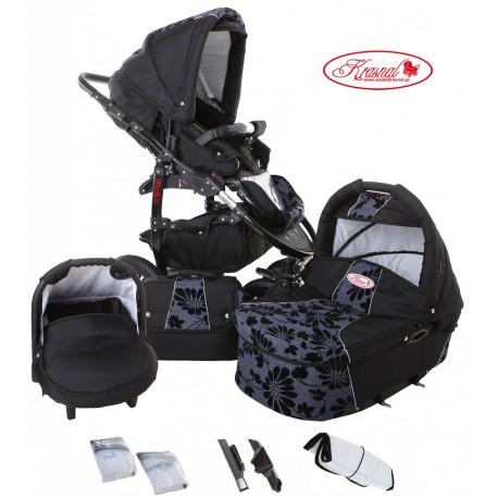 Wózek dziecięcy Krasnal Fiorino (czarny + niebieski) LEN