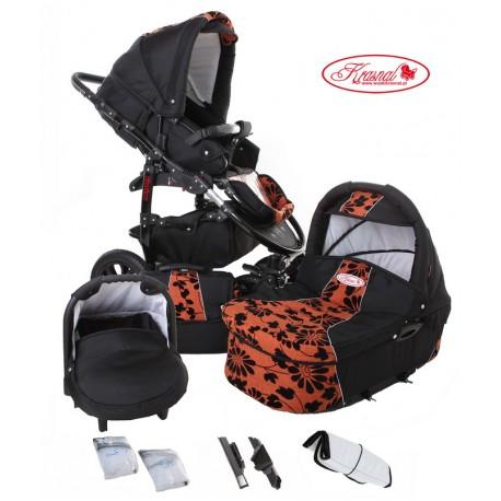 Wózek dziecięcy Krasnal Fiorino (czarny + rudy) LEN
