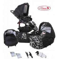Wózek dziecięcy Fiorino (czarny + szary) LEN