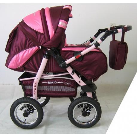 Wózek dziecięcy Krasnal HUGO ( bordo + różowy )
