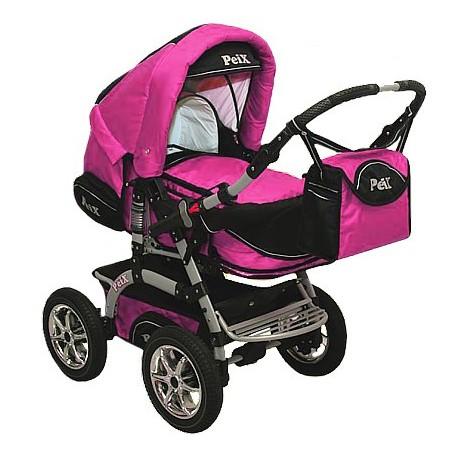 Wózek dziecięcy Krasnal PEIX [różowy+czarny]